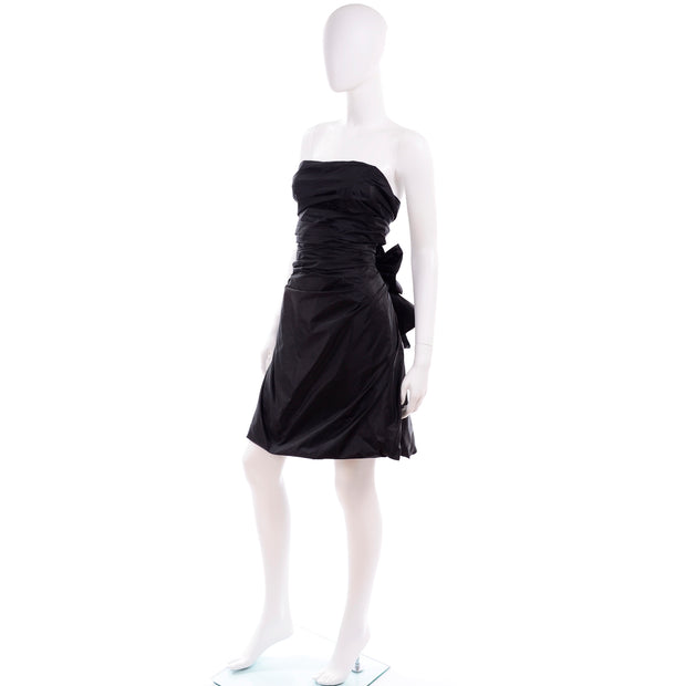 Marc Jacobs Strapless Black Taffeta Tied Open Back Evening Dress