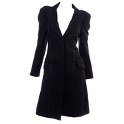 2010 Marc Jacobs Louis Vuitton Charcoal Pinstripe Coat