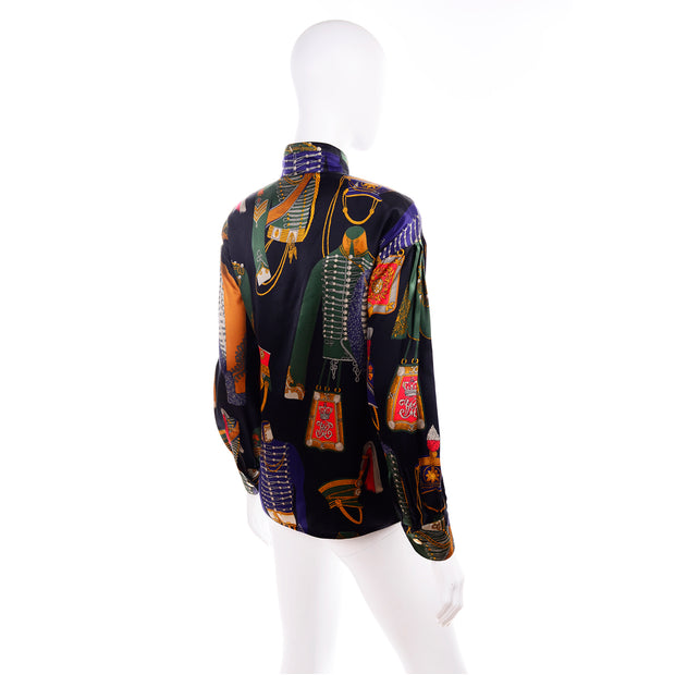 1980s Vintage Escada Blouse Soldier Costume Novelty Print Silk by Margaretha Ley