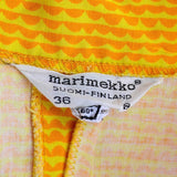 1960's Marimekko Suomi-Finland label on yellow and orange vintage sun dress size 36 US women's size 8