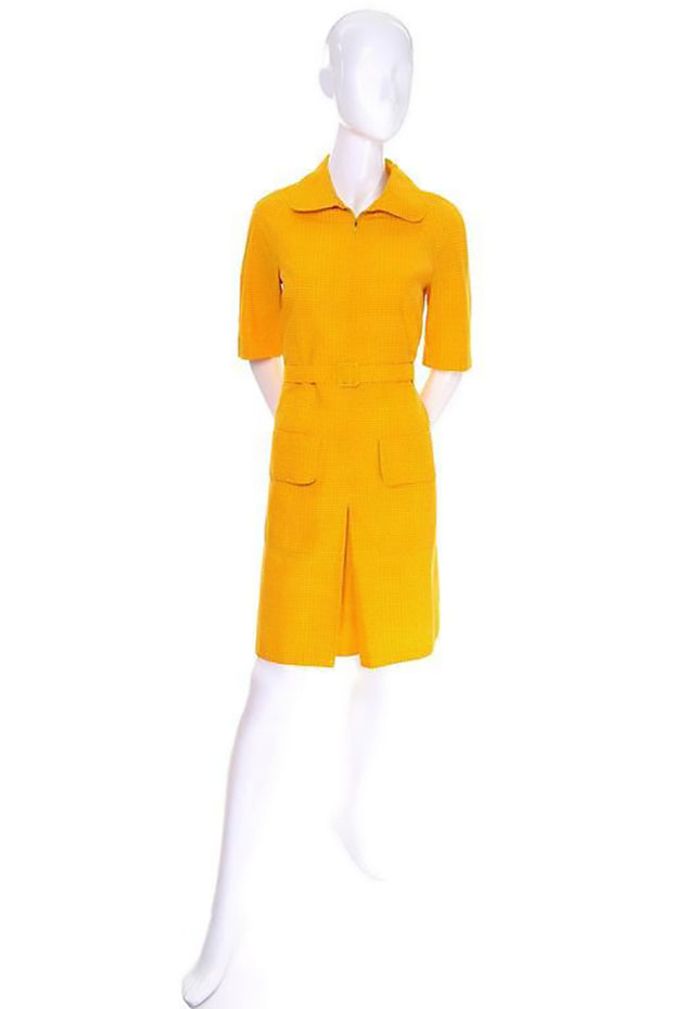 1960s Marimekko pleated yellow and orange vintage sun dress size 8