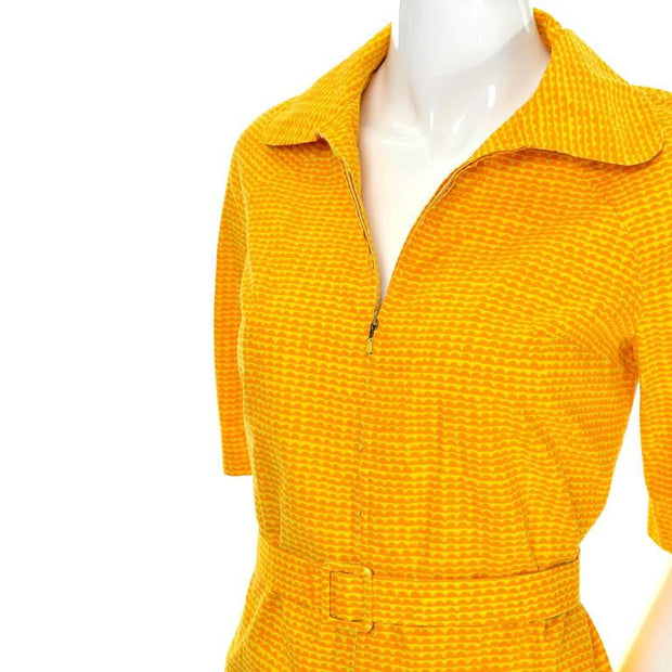 Zip front vintage cotton sun dress by Marimekko straight 1960s style vintage dress