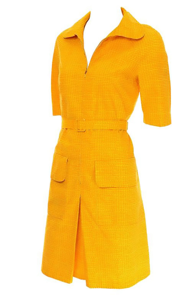 Marimekko 1960s vintage orange yellow print cotton sun dress
