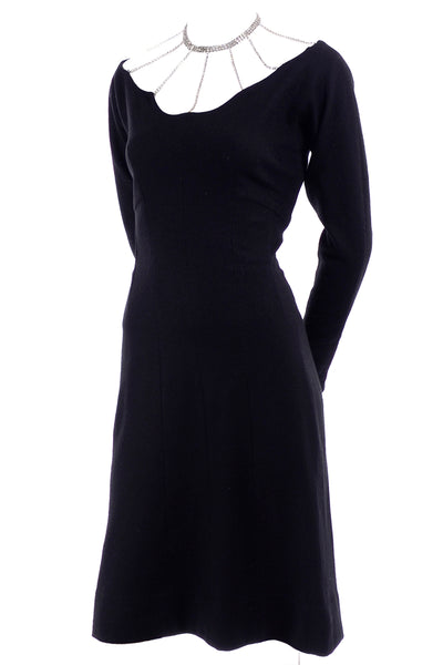 Marion McCoy Cage Neckline Vintage Black Wool Dress
