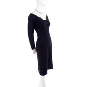 1960's Black Felted Wool Vintage Cocktail Dress