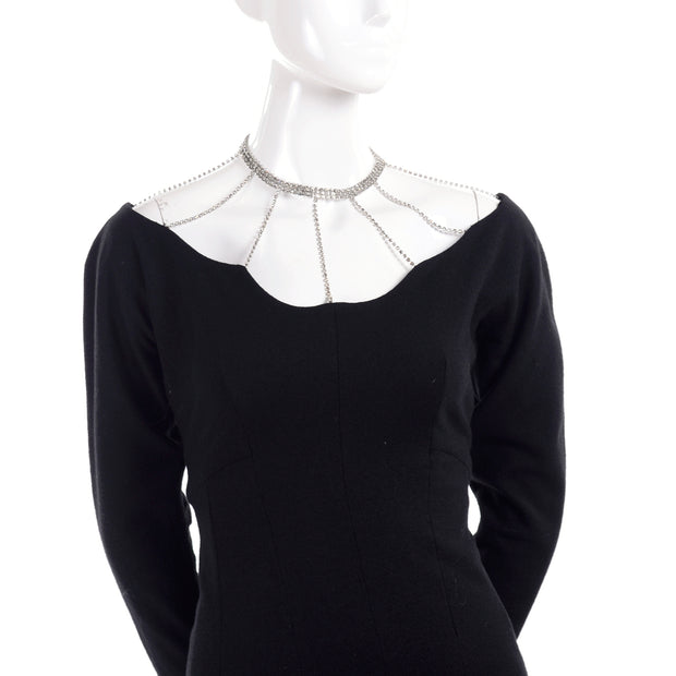 Black wool vintage 1960's cocktail dress with rhinestone cage and choker
