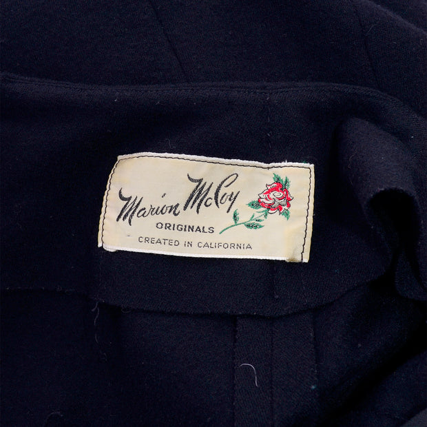 Late 1960's Marion McCoy Label on a black wool dress
