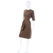 Marjorie Montgomery Vintage 1960s Brown Print Dress With Pom Pom Belt