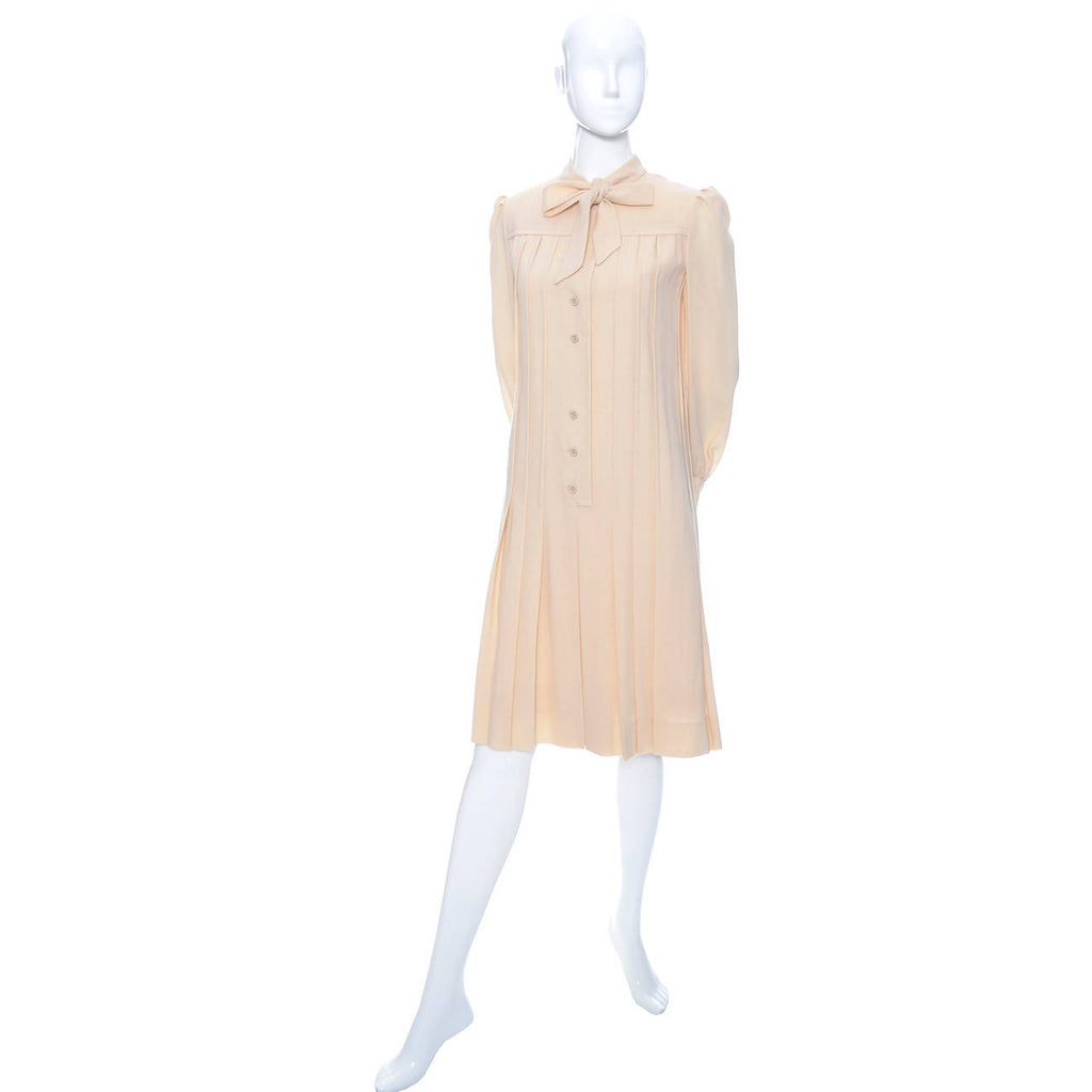 1970s Pleated Cream Wool Shift Dress with Bow by Marshall Field