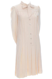 1970s Pleated Cream Wool Shift Dress with Bow by Marshall Field - Dressing Vintage