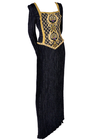Givenchy Vintage Evening Gown Black Velvet & Taffeta Statement Dress Size 12