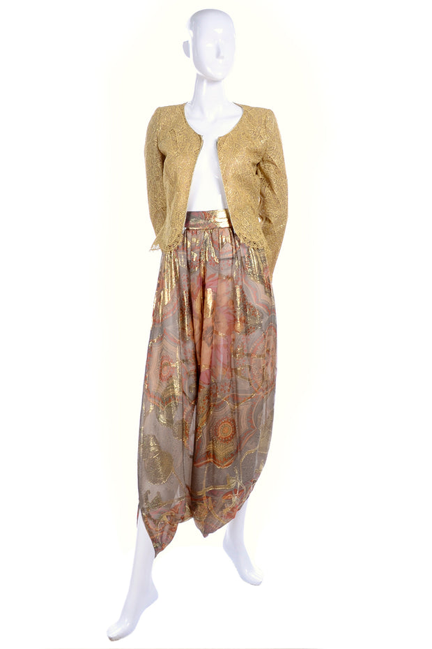 1970's Mary McFadden Couture Vintage Harem Pants & Gold Top