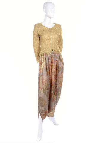Mary McFadden Couture Vintage Harem Pants & Gold Lace Top