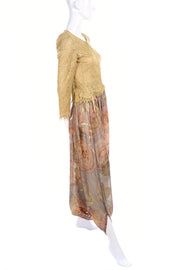 1970's Mary McFadden Couture Vintage Harem Pants & Gold Top Outfit