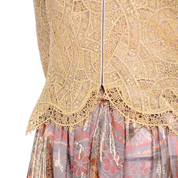 Mary McFadden Couture Vintage Harem Pants & Gold Eyelash Lace Top