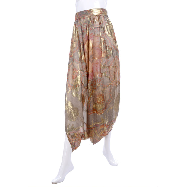 Mary McFadden Couture Vintage Metallic Harem Pants
