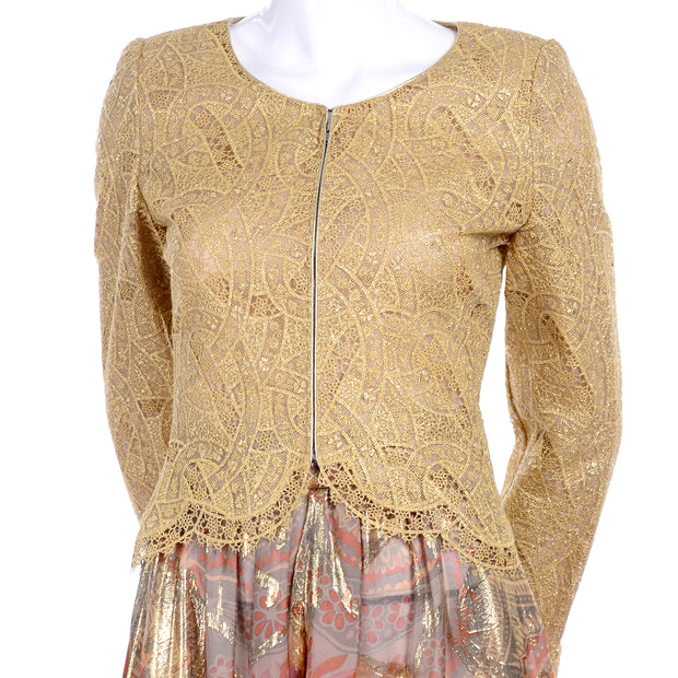 Mary McFadden Couture Vintage Harem Pants & Gold lace Zip Front Top