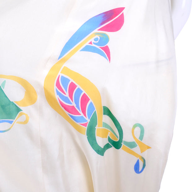 Abstract shape bird hand painted silk jumpsuit