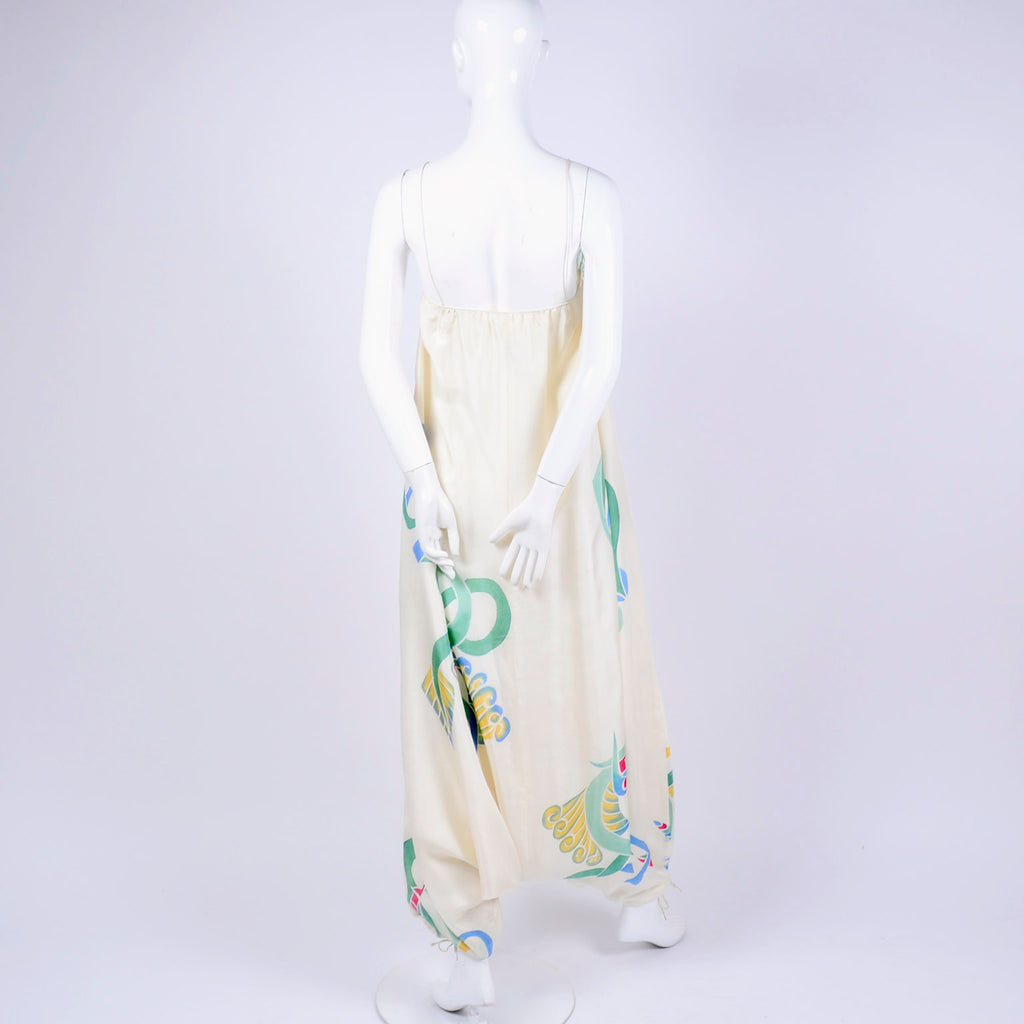 c. 1978 Mary McFadden painted silk vintage jumpsuit