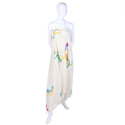 1970's cream silk hand painted harem jumpsuit