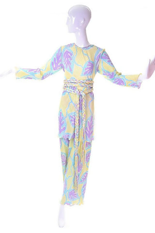 1970's Mary McFadden ensemble in pastel colors. Yellow, with purple and blue leaves on the pleated pants and matching top.
