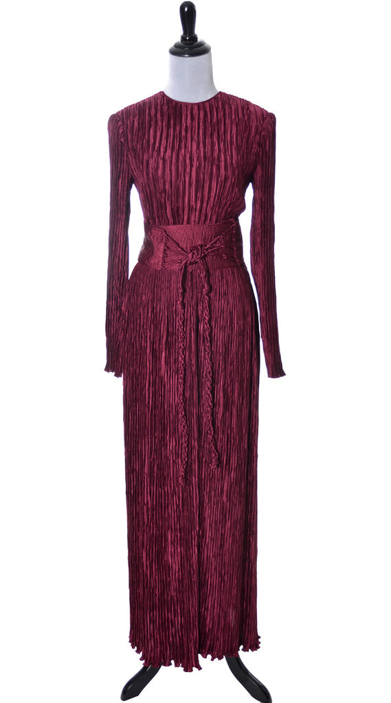 vintage red Fortuny style pleated Mary McFadden couture dress