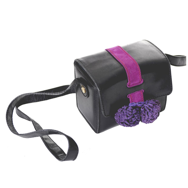 Maud Frizon Vintage Handbag Shoulder Bag Purple Black