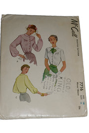 1949 McCall 7716 Vintage Sewing Pattern for 1940s Blouses