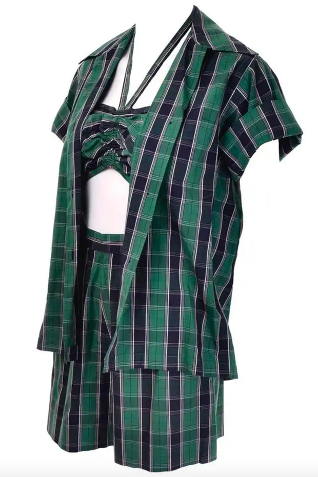 3 pc Dorothy Cox 1950s McMullen Plaid Vintage Playsuit Shorts Halter and Shirt Set