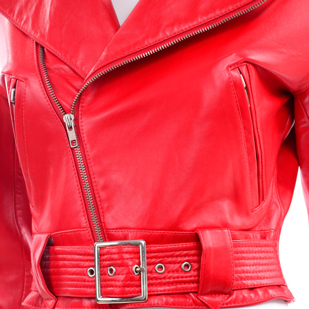 Michael Hoban North Beach Leather Vintage Bomber Jacket Red