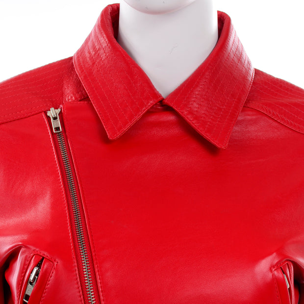 Michael Hoban North Beach Leather Vintage Red Bomber Jacket