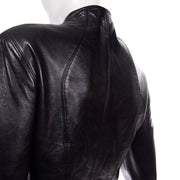 1980s Michael Hoban North Beach Leather Vintage Black Jacket fitted