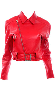 Red Michael Hoban North Beach Leather Vintage Bomber Jacket Racing