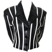 Cropped Michael Hoban North Beach Vintage Black and White Striped Leather Jacket