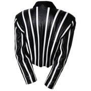 Striped Cropped Michael Hoban North Beach Vintage Leather Jacket