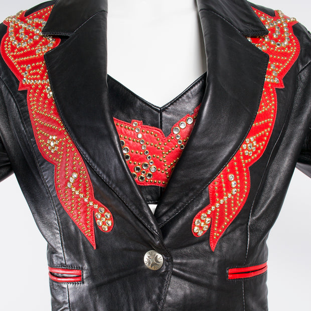 Rock Star Michael Hoban Red Leather Musical Pants Bustier and Jacket - Dressing Vintage
