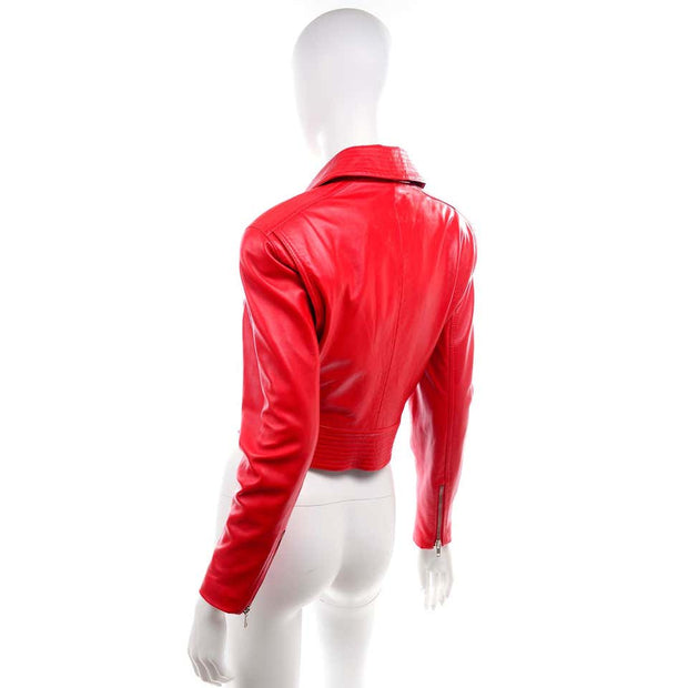 Cherry Red Michael Hoban North Beach Leather Vintage Bomber Jacket