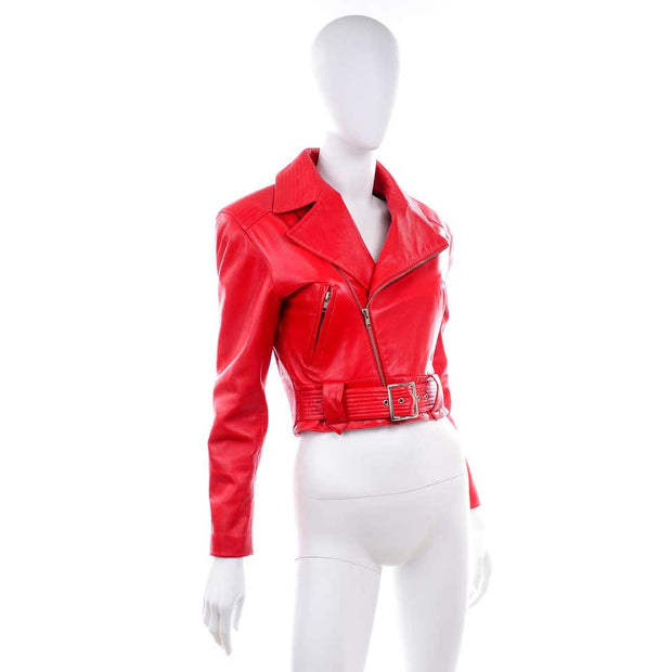 Michael Hoban North Beach Red Leather Vintage Bomber Jacket