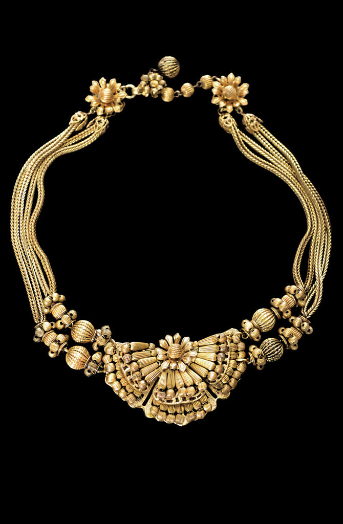 Miriam Haskell vintage gold necklace with medallion