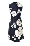 1960s Floral Blue and White Miss Bergdorf Bergdorf Goodman Vintage Dress 1960s