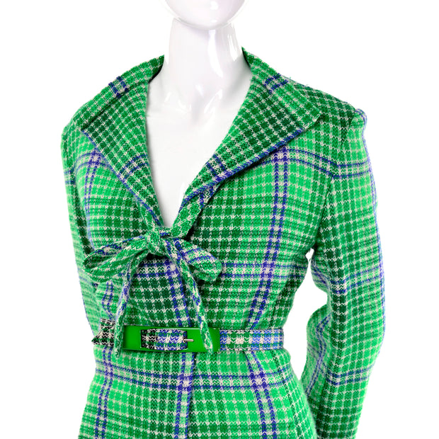 Rare 1970s Vintage Missoni Green Plaid Skirt Suit With Belted jacket