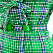 1970s Vintage Missoni Green Plaid Skirt Suit With Belted jacket rare