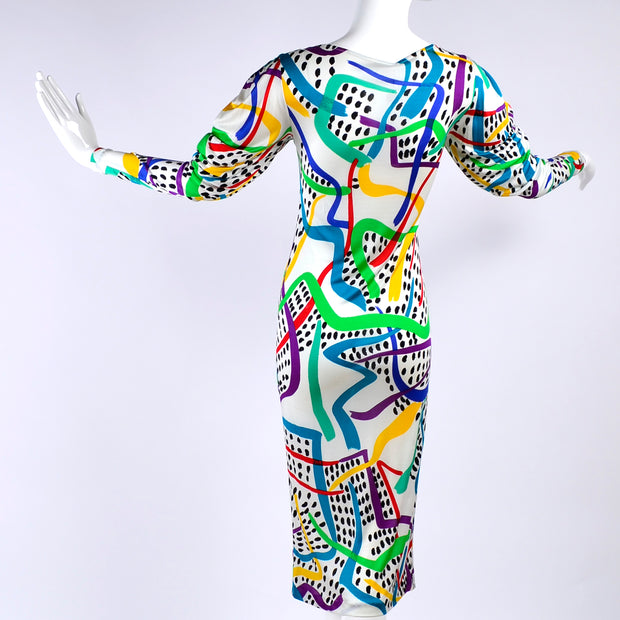 Colorful Abstract Missoni Silk Vintage Dress NWT