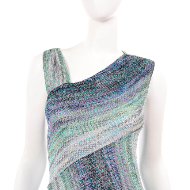 Missoni Metallic Stretch Knit Dress w/ Asymmetrical Striped Design 6/8