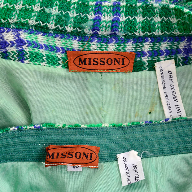 1970s Vintage Missoni Green Plaid Knit Skirt Suit With Belted jacket