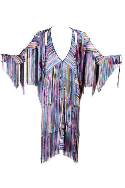 Multi Colored Vintage Fringe Dress and jacket