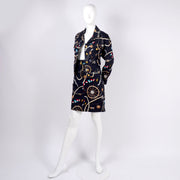 90's Mondi vintage black denim jacket and skirt with Naval Print
