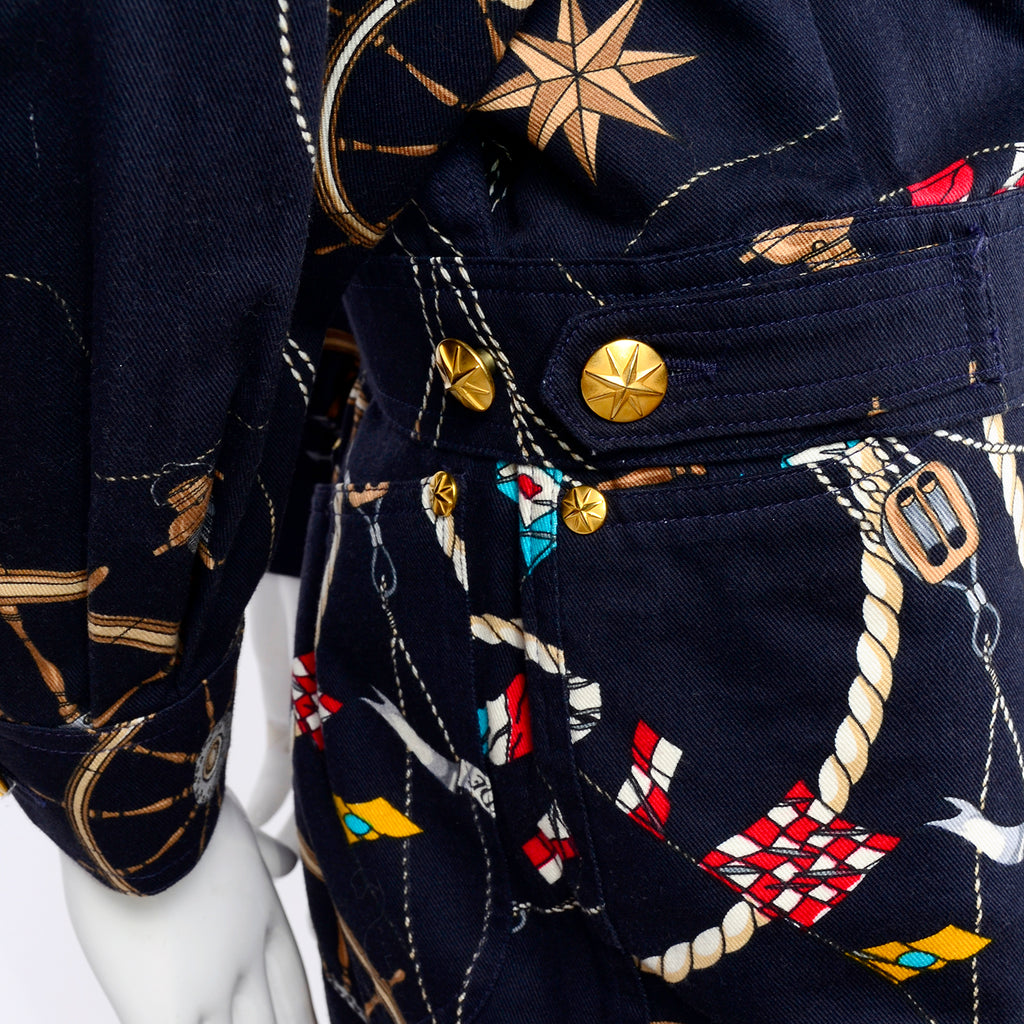 Vintage 1990's Nautical print Mondi outfit with gold star buttons