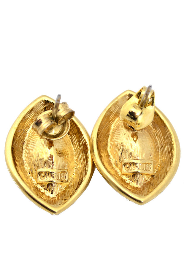 Monet Crystal Vintage Earrings Gold