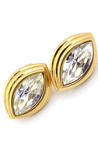 Monet Crystal Vintage Earrings Gold Tone